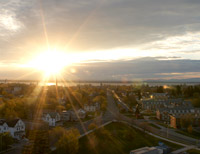 Sunrise over Lake Champlain and downtown Plattsburgh