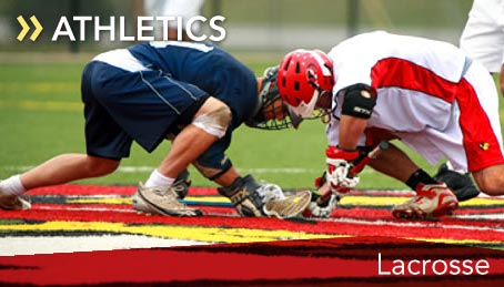 Student lacrosse players crouch for a face-off. This link opens a new browser window that will take you to the SUNY Plattsburgh Men's Lacrosse team page.