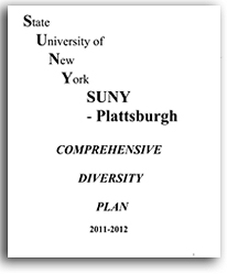 Click on this image to download PDF copy of SUNY Plattsburgh's Comprehensive Diversity Plan