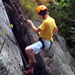 Photo of student rock climbing
