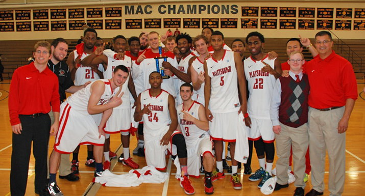 Photo of SUNY Plattsburgh Mens Basketball team, Head Basketball Coach Tom Curle, and Greg Gerney