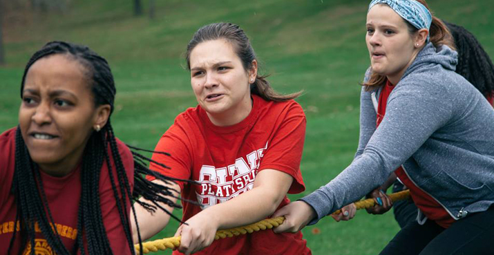 Photo of students competing in the tug-of-war