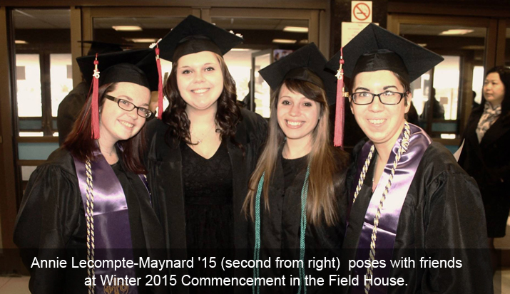 Annie Lecompte-Maynard '15 with friends at commencement