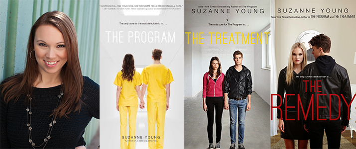 Photo of Suzanne Young, and covers of several books she has written