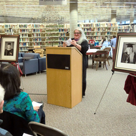 Photo of Diane Fine at the unveiling of her portrait