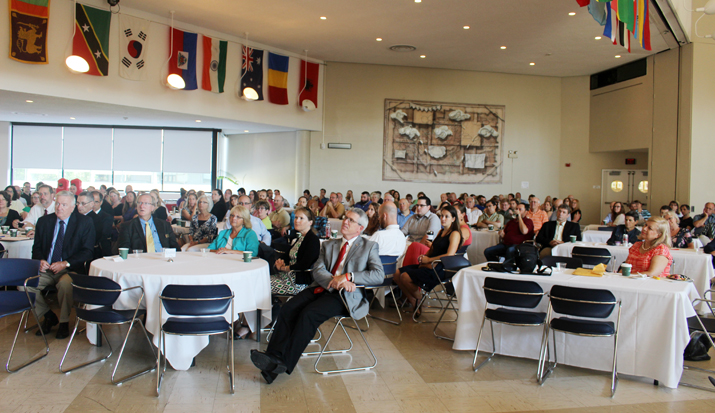 Photo of faculty gathering to celebrate the launch of the Fall 2016 semester.