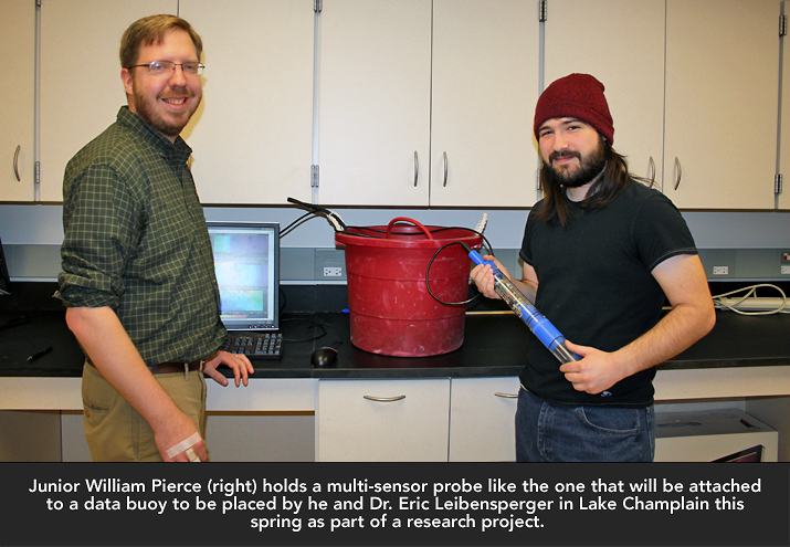 Photo of  Dr. Eric Leibensperger and SUNY Plattsburgh Junior William Pierce
