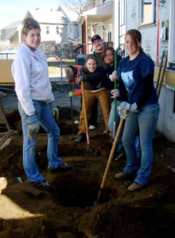 Photo of SUNY Plattsburgh students helping to rehabilitate a home