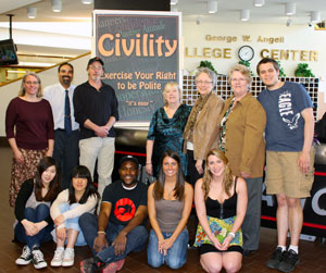 Photo of of communications class posing with members of the Civility Committee.