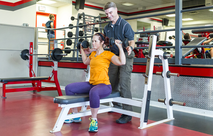Photo of supervised workout in the SUNY Plattsburgh Fitness Center