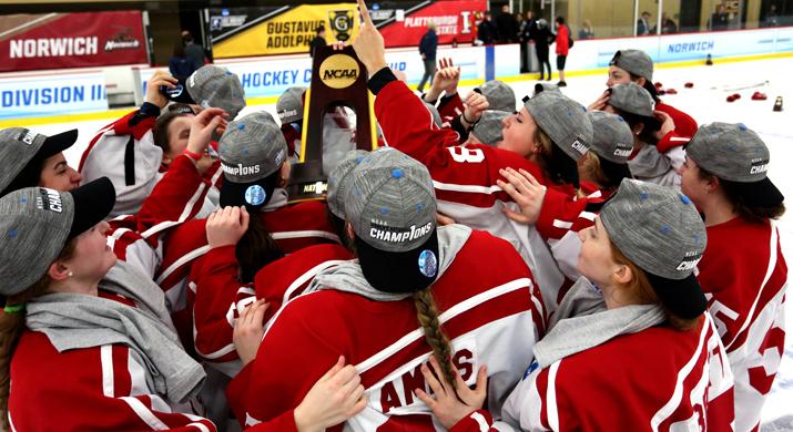 Women's Ice Hockey team celebrates their fourth-straight national championship