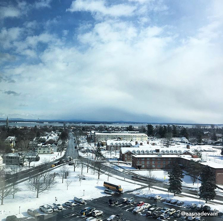 Photo of SUNY Plattsburgh camnpus in winter by kellyybauer