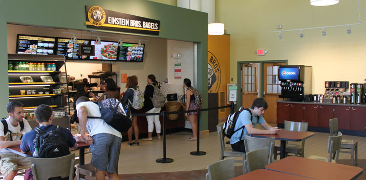 Photo of newly constructed Einstein Bros location in Hawkins Hall