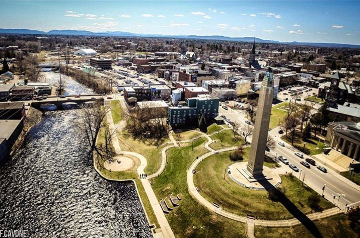 Aerial photo of downtown Plattsburgh by fcavone_photos