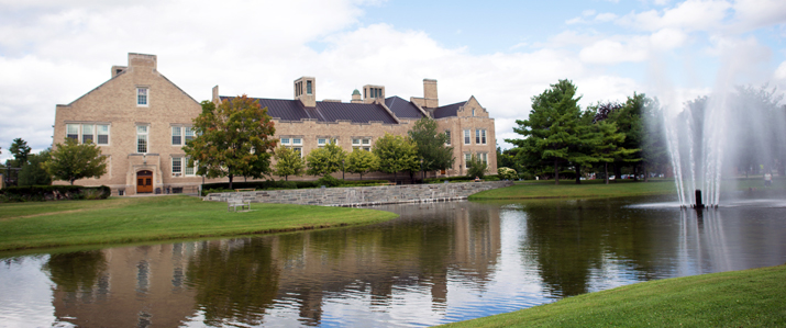 Photo of Hawkins Hall and Hawkins Pond