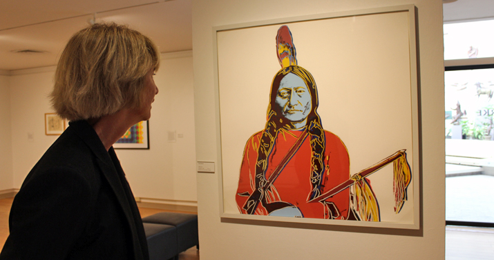 Photo of new Chancellor Kristina Johnson admiring art