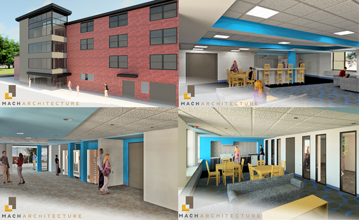 Photo shows renderings of the upcoming Macomb Hall rennovation.