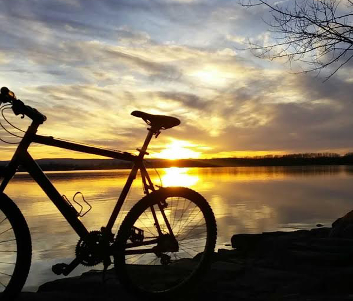 Photo of bike set against sunset in Plattsburgh