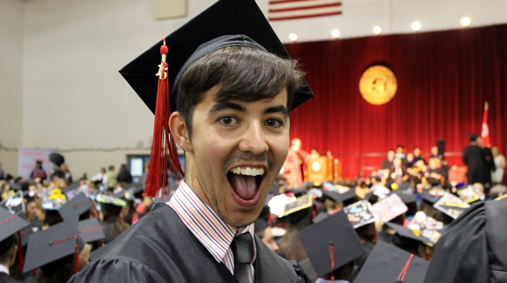 Photo of SUNY Plattsburgh student at Spring 2015 Commencement