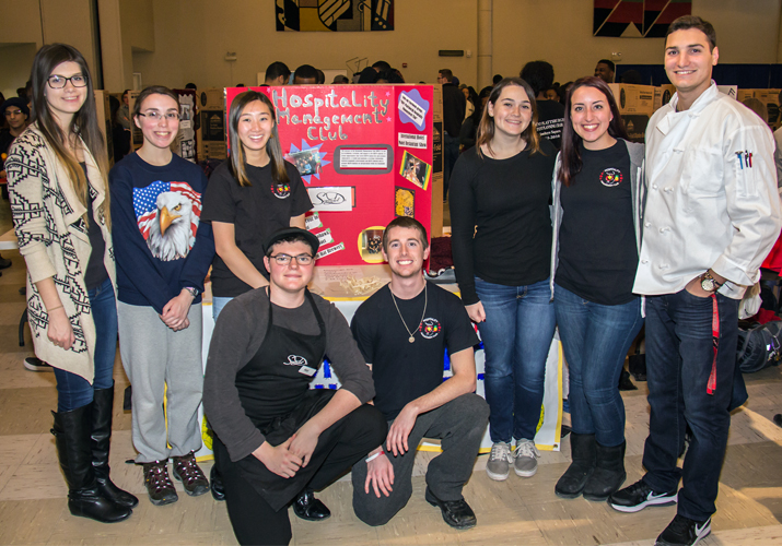Photo of Hospitality Management Club members at the Student Involvement Fair
