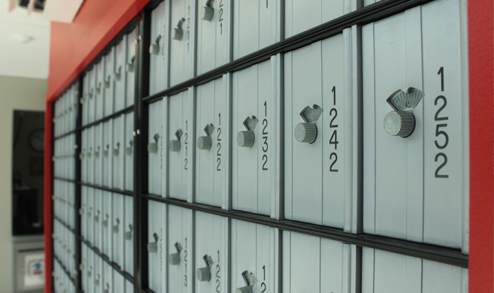 Photo of individual mail boxes in the Student Mail Center.