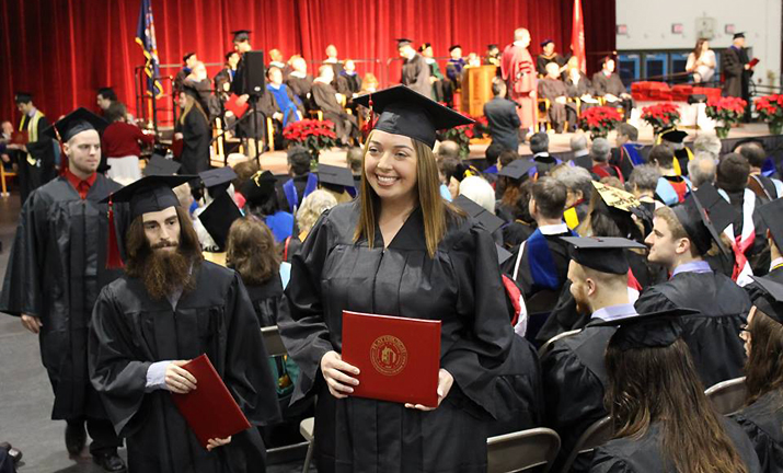 Photo of new SUNY Plattsburgh graduates at Winter Commencement 2015