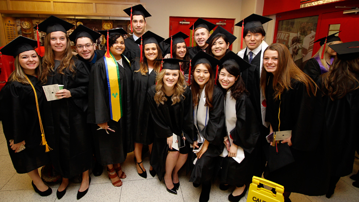 Photo of new SUNY Plattsburgh graduates at Winter Commencement 2016