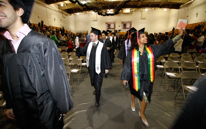 Photo of SUNY Plattsburgh graduates at Winter 2016 Commencement