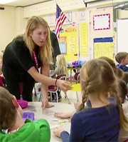 Photo of SUNY Plattsburgh students working with children in the classroom