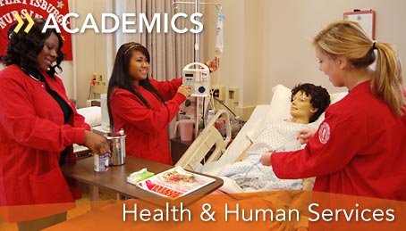 Photo of students working in the Damianos Nursing Skills Lab