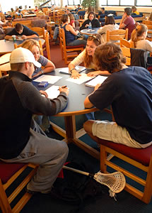 Photo of a group of SUNY Plattsburgh students studying together