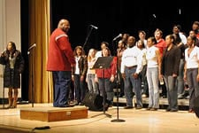 Photo of SUNY Plattsburgh College Gospel Choir practice