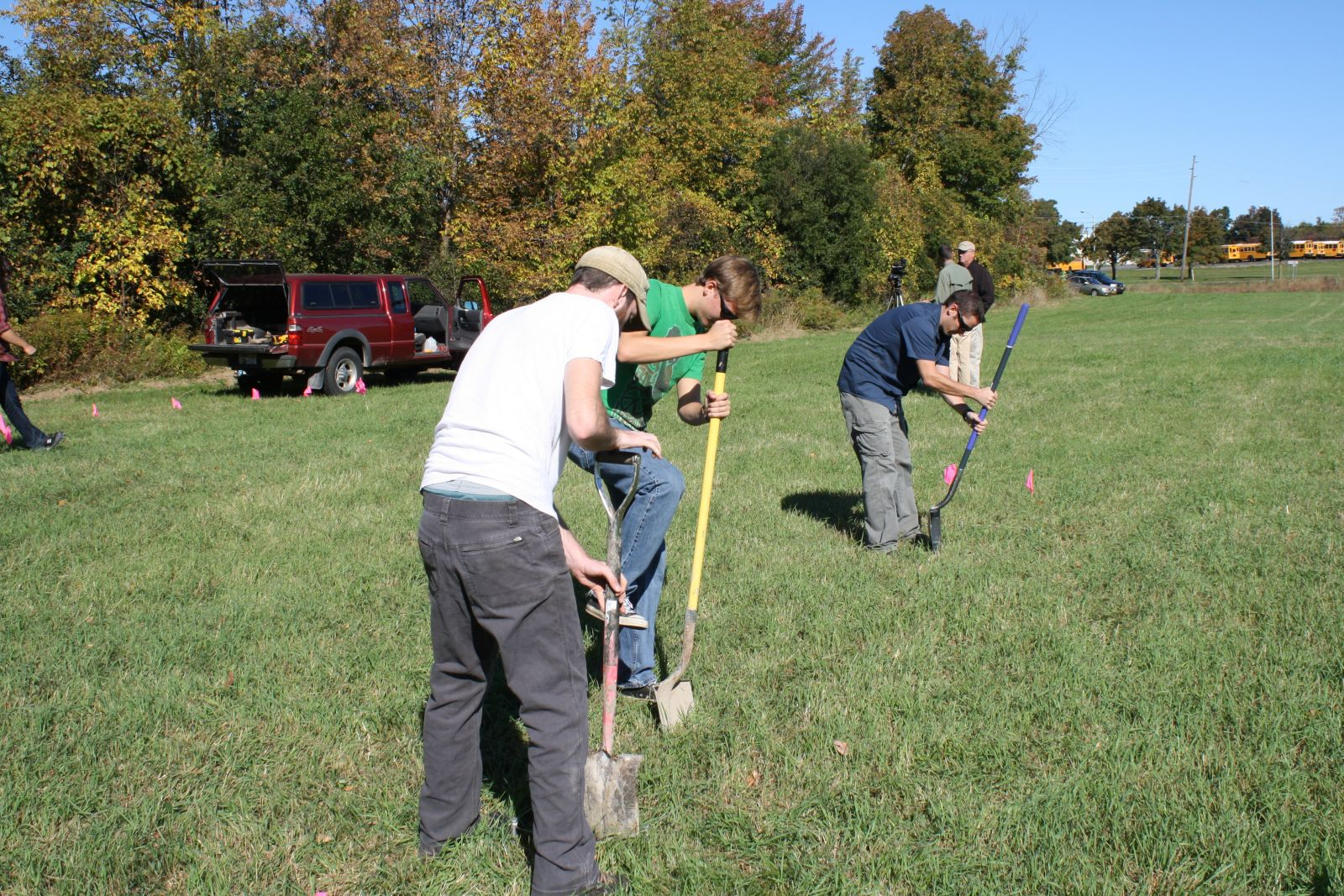 Students excavating at a historic cemetery site in Clinton County