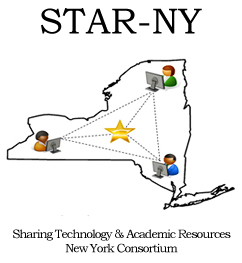 Logo for STAR-NY, Sharing Technology & Academic Resources — New York Consortium