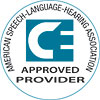 Logo for American Speech-Language-Hearing Association CE Approved Provider