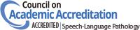 Badge for Council on Academic Accreditation's Accredited Speech-Language Pathology program