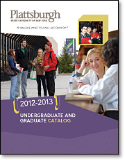 Image of the catalog cover showing students talking outside Feinberg Library, working in a lab and showing their diplomas at graduation