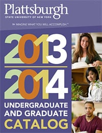 Image of the catalog cover showing two students studying and one working in the botany lab.