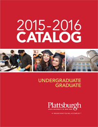 Image of the catalog cover showing students working in lab, graduating students, and Hawkins Hall