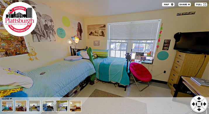 Interior view of a dorm room. Click on this image to view 360 degree view of various rooms.