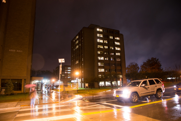 Photo of deFredenburgh Hall at night