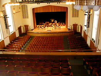View of E. Glenn Giltz Auditorium's stage from the balcony
