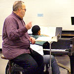 Rick Davies conducts the Jazz Ensemble class