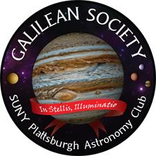 Logo for Galilean Society, SUNY Plattsburgh Astronomy Club, motto is 'In Stellis, Illuminatio'