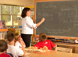 Photo of a teacher working with students at the blackboard