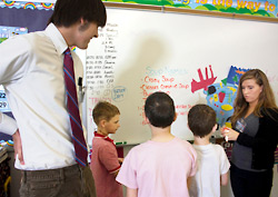 Photo of SUNY Plattsburgh students teaching in an elementary school classroom