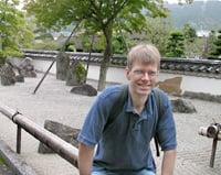 Photo of Kurtis Hagen at a Zen rock garden