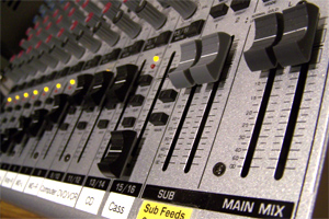 The mixing console in Audio Lab 2