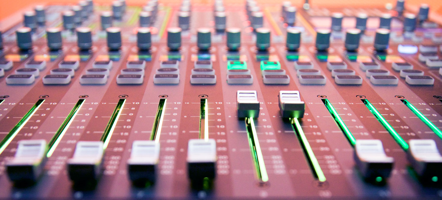 Image of a new audio board that students edit audio on in the new audio editing labs.