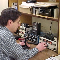 Gordy Burdo at his ham radio
